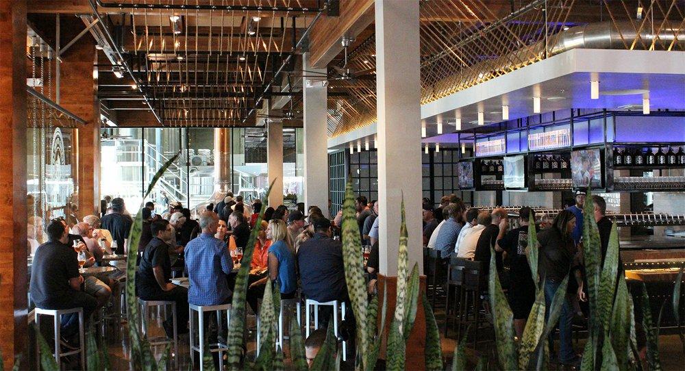 The new bar area at Ballast Point Brewing & Spirits' Miramar facility