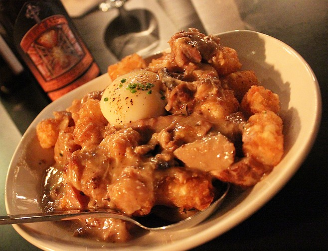 Tater tot poutine with short rib gravy and cheese curds at The Cork and Craft in Rancho Bernardo