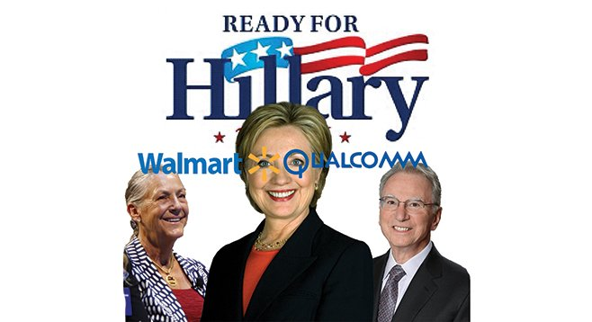 Hillary Clinton raked in $25,000 from Walmart heiress Alice Walton (left) and $50,000 from Irwin Jacobs (right) and his wife.