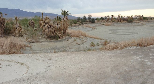 """Dry """"lake"""" next to the 18th hole"""