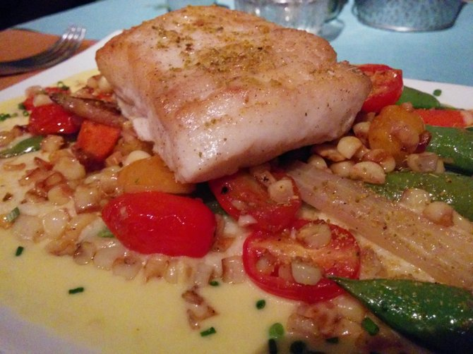 Seabass with grits