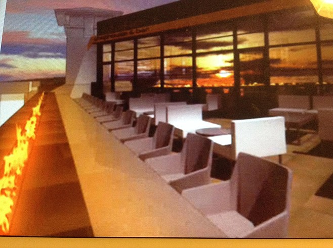 """Publicity mock-up of """"flaming wall"""" terrace"""