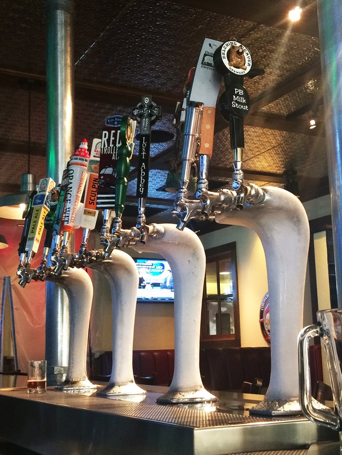 One of the new, icy tap towers at Phil's BBQ's recently remodeled bar in San Marcos
