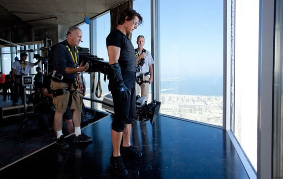 Elswit and Cruise on the set of Mission: Impossible — Ghost Protocol.