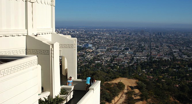 View of L.A. from Griffith Observatory deck.