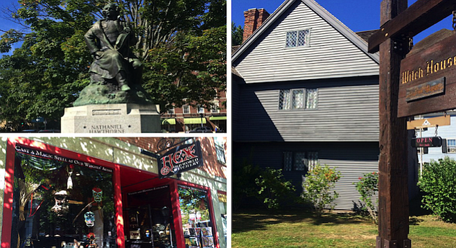 Clockwise from left: Nathaniel Hawthorne statue; the historic Witch House, which dates to the 17th-century witch trials; HEX witchcraft store.