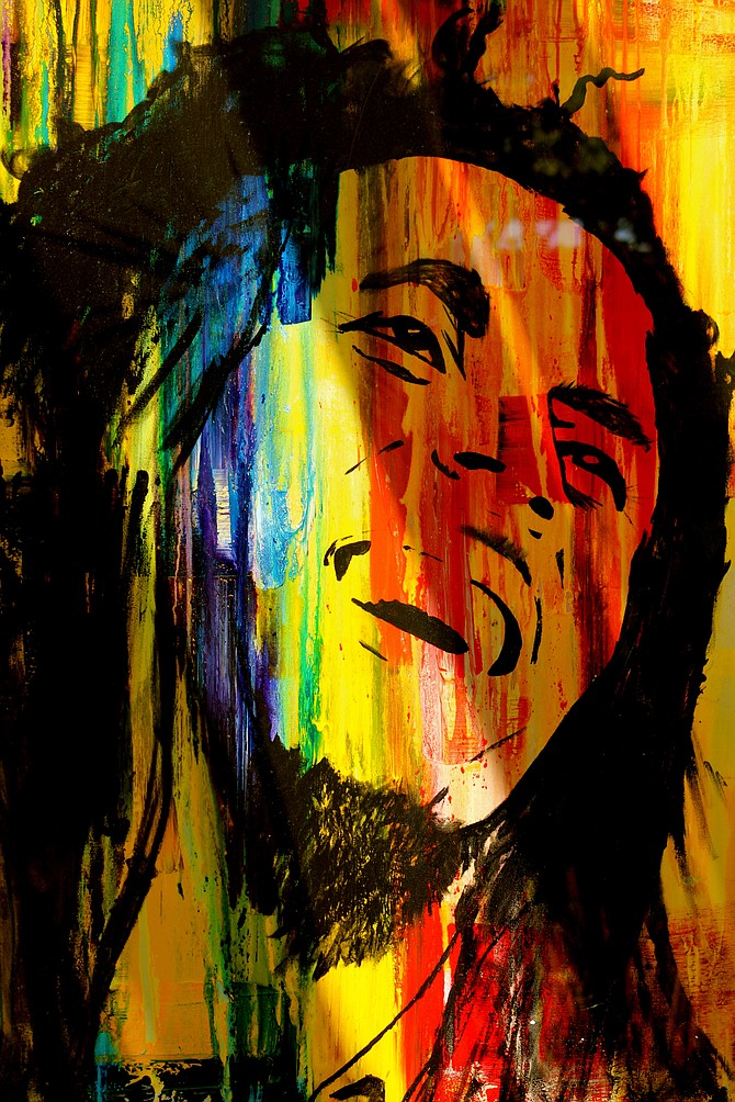 A painting of the legend Bob Marley in Del Mar.