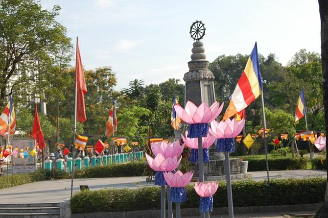 Giant manmade violet lotuses celebrate Buddha's birthday in Huế.