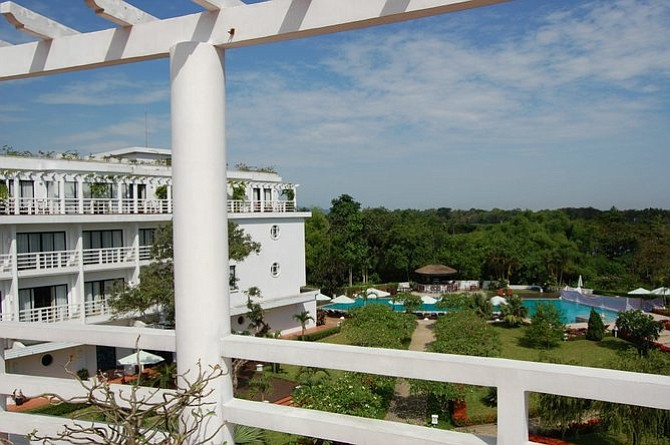 View from my verandah at Huế's five-star La Residence.