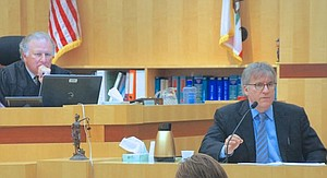 Judge Harry Elias with Dr. Ornish in the witness box. Photo by Eva