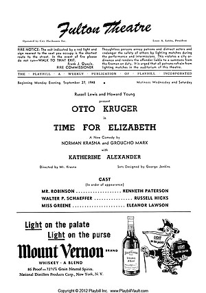 Playbill, September 27, 1948.