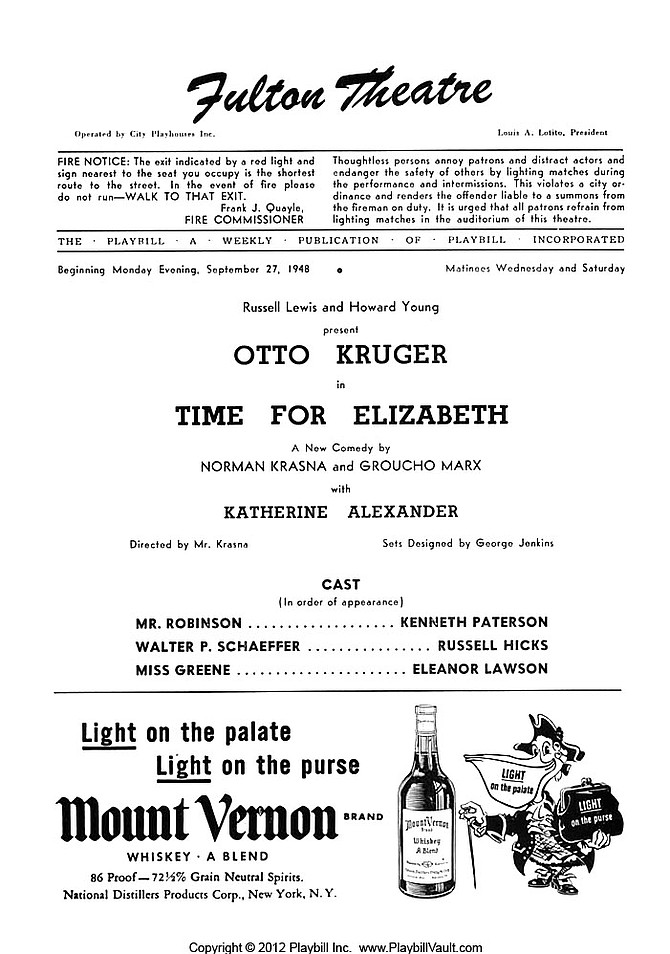 Playbill, September 27, 1948.