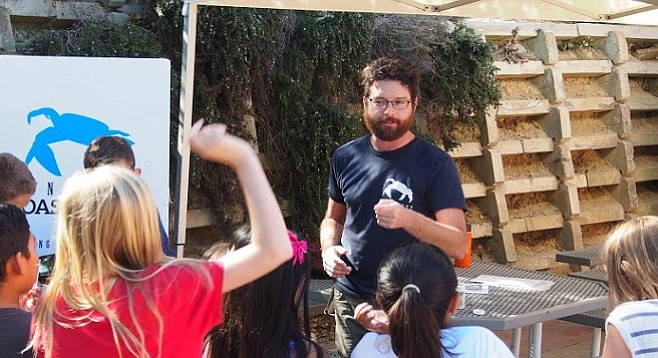 SD Coastkeeper's Travis Pritchard fields questions from students