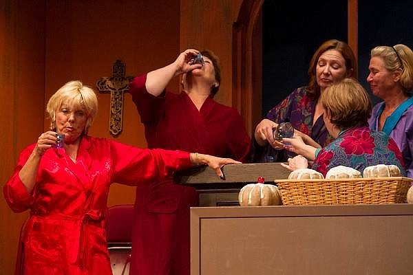 Dori Salois as Chris, Alice Joslyn as Cora, Jennie Olson Six as Celia, Kymri Wilt as Jesse and Elaine Miranda as Annie in Calendar Girls at Sullivan Players.