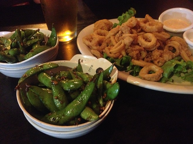 Garlic edamame and fried calamari starters, Sushi Deli 3
