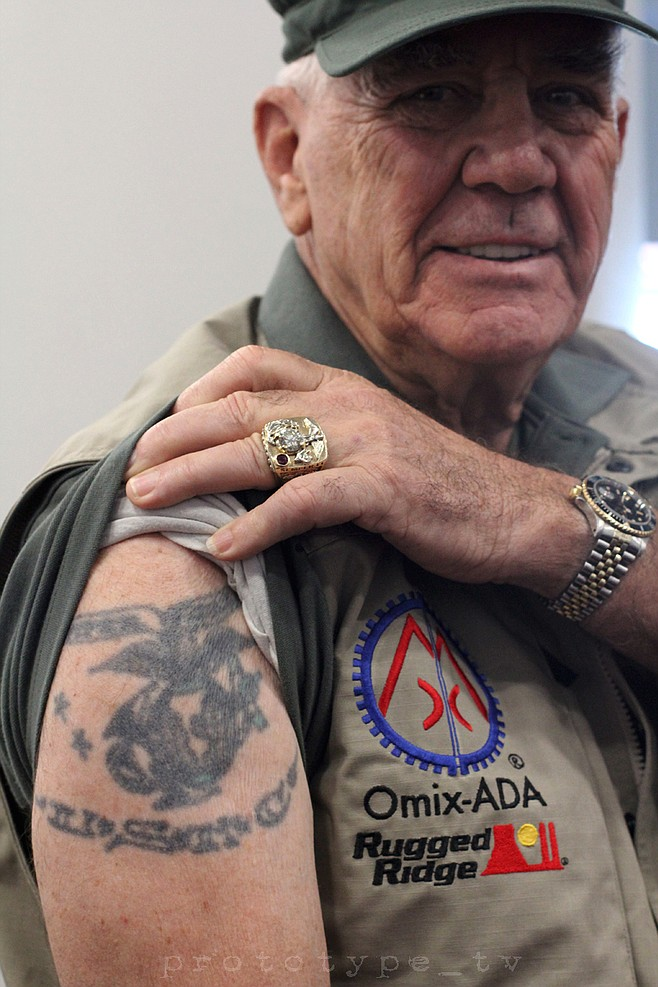 tattoo you r lee ermey from full metal jacket showed me his usmc tattoo that he got in san