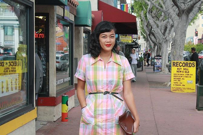 Shana Buenaventura thrift shopping in Hillcrest