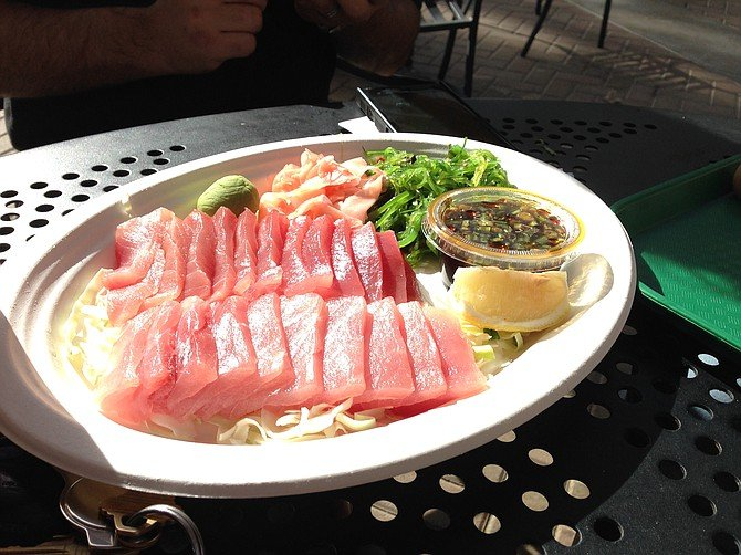 The sashimi platter here is what you might call enormous. Pelly's Fish Market & Cafe.