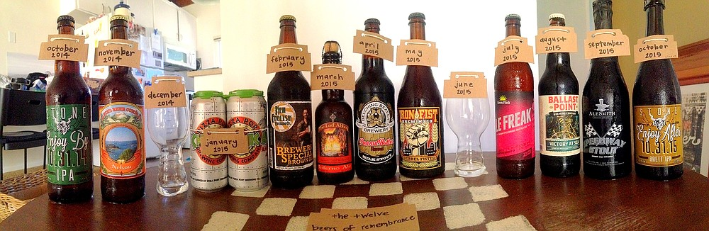 The 12 Beers of Remembrance (with some holes left to be filled care of growlers)