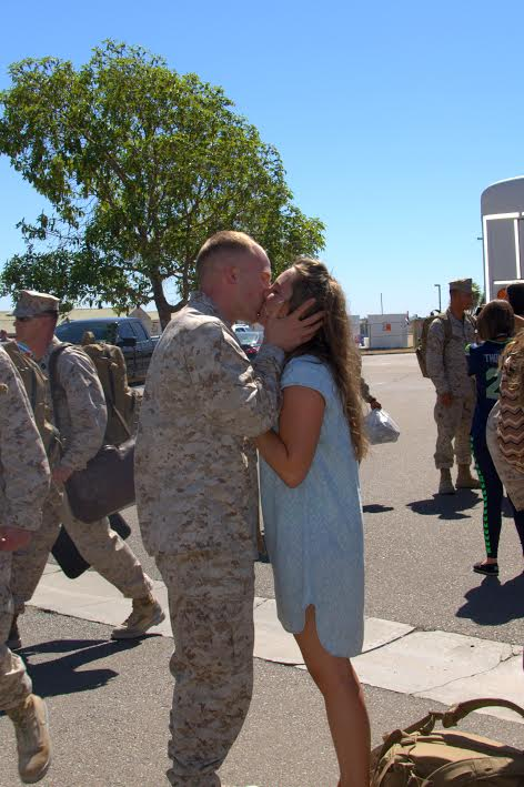Cartwright and Elizabeth on the day of the former's return from deployment in the Middle East