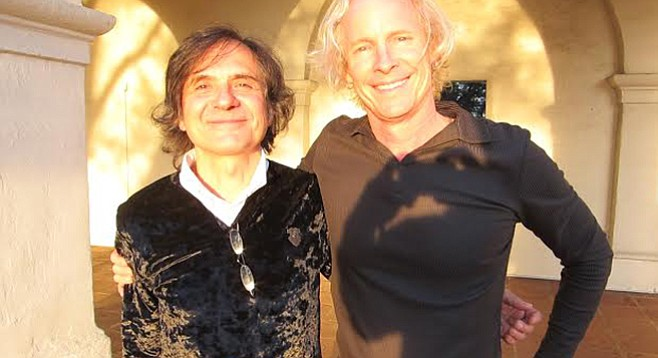 Mark Langford (right) welcomed classical guitarist Flavio Cucchi to the inaugural San Diego Guitar Society event in Balboa Park.