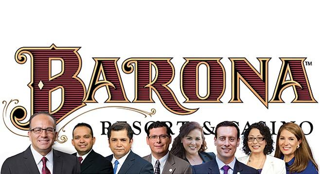 Partygoers on the res: Raul Bocanegra, Luis Alejo, Jimmy Gomez, Rudy Salas Jr., Lorena Gonzalez, Roger Hernández, Cristina Garcia, and Sharon Quirk-Silva