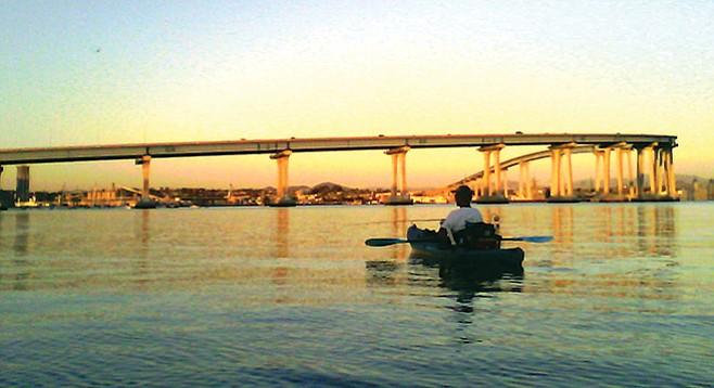 Kayak fishing along the Coronado Bridge