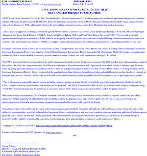 CPUC press release