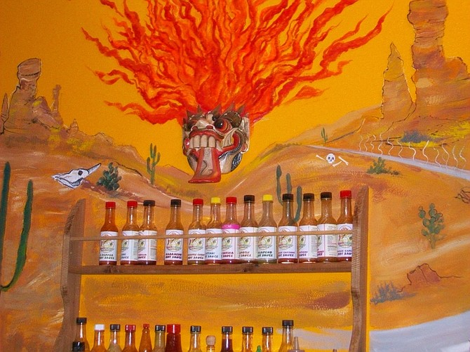 """""""Wall of Fire"""" at Rock the Guac restaurant in Cocoa Beach, Florida."""