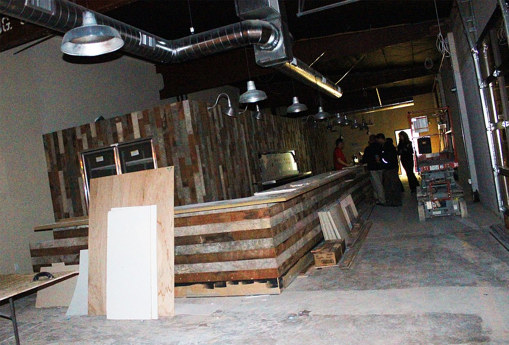 The under-construction North Park tasting room and kitchen from Rip Current Brewing Company