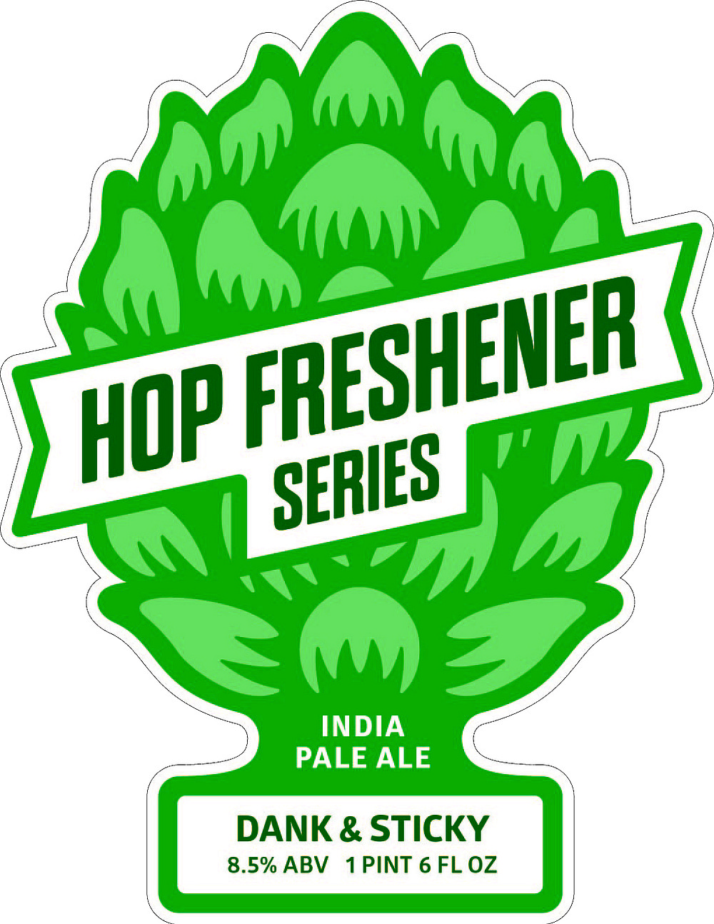 "The bottle art for the first beer in The Hop Concept's ""Hop Freshener"" Series, Dank and Sticky IPA"
