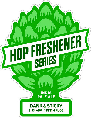 """The bottle art for the first beer in The Hop Concept's """"Hop Freshener"""" Series, Dank and Sticky IPA"""