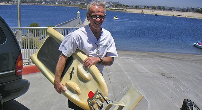 Terry Hendricks with one of his hydrofoil designs