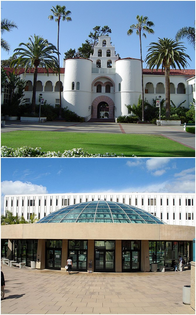 """""""SDSU's official logo features the facade of Hepner Hall, a building which is pretty relentlessly phallocentric,"""" notes Hirshman. """"You've got a small, rounded pink gateway flanked by not one but two huge white upright columns. And it's topped off with a bell tower to boot. Now of course we're not going to tear Hepner down. But it is worth creating a more gynophilic atmosphere, both so the ladies feel supported and so the gentlemen are informed. A new logo, inspired by a different building, can really be a help here. As it happens, Love Library is ready to hand: an architecturally interesting building with a more…feminine presentation. Less aggressive, more welcoming, you know?"""""""