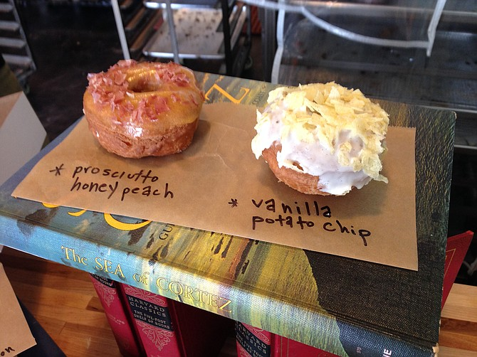 Prosciutto honey peach and vanilla potato chip. Nomad Donuts.