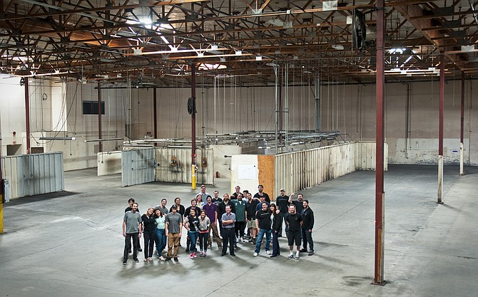 The interior of AleSmith's upcoming facility in Miramar, with the full crew.