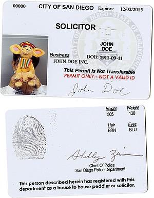 Sample (front and back) of legitimate door-to-door solicitor's permit