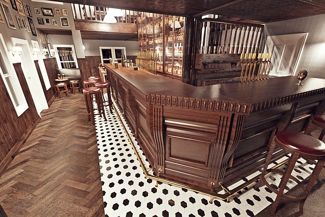 A mock-up of the downstairs bar and dining room at Half Door Brewing Company