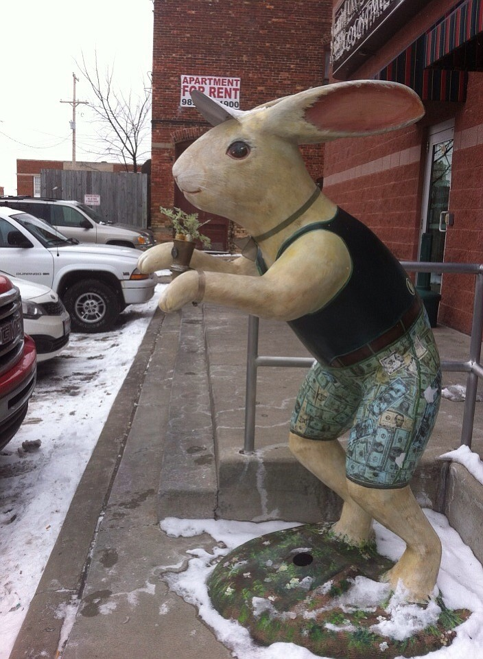 Rabbit in front of store, Saginaw.
