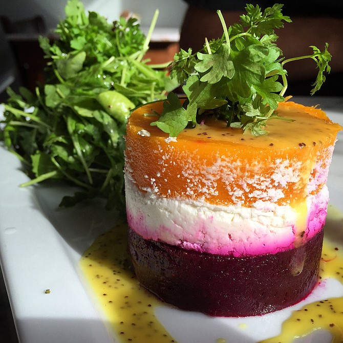 Beet, goat cheese, and butternut squash terrine, a dish worth dreaming about