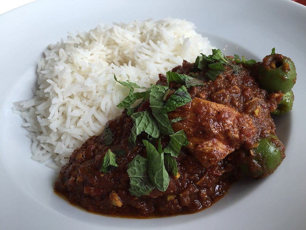 Moroccan chicken dish, complex flavors, simple awesome