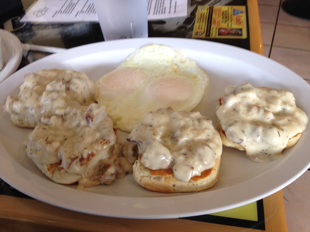 No one ever said biscuits and gravy looked good. Biscuits & Gravy. Curbside Café.