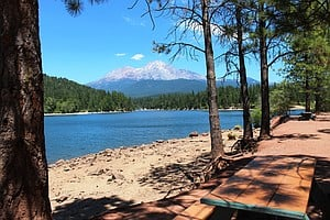 Lake Siskiyou with Mount Shasta in the background.