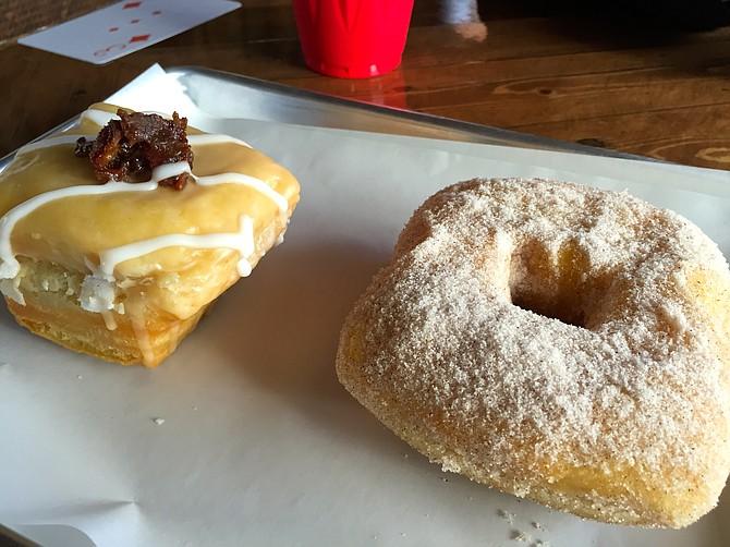 Maple bacon glazed (left) and cinnamon sugar.