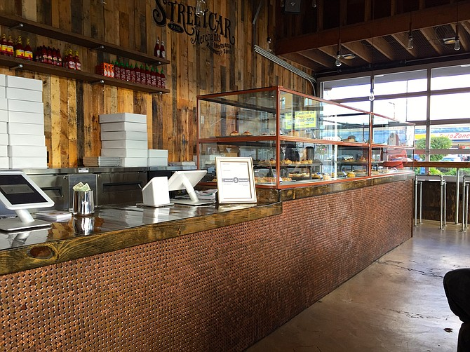The counter's facade is made of pennies.