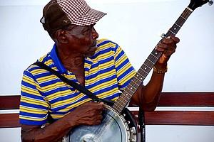 Street musician in Casco Viejo, Panama.