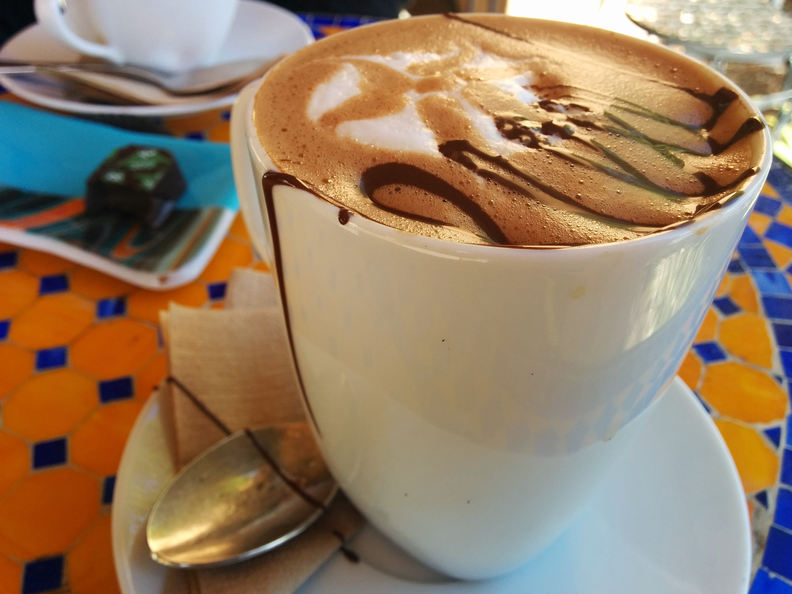 Cafe mocha featuring liquid couverture chocolate!