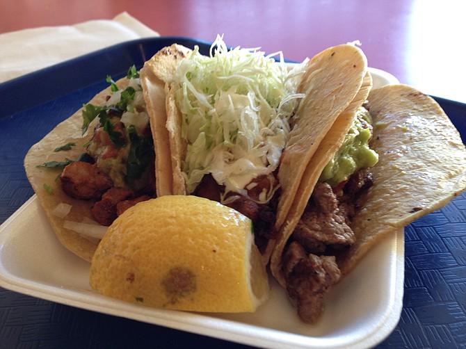 Adobado taco, fried fish taco, carne asada taco. Taco Surf Taco Shop.