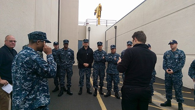 Navy crew watches Google Glass demonstration