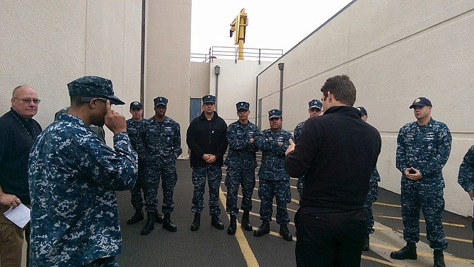 Navy crew watches Google Glass demonstration